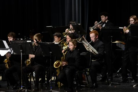 Members of the Jazz band during their piece, Impressions.