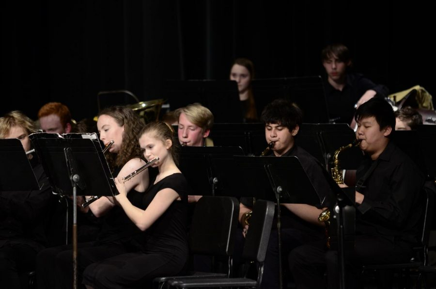 Concert band freshmen during the song, Boom and Bust.