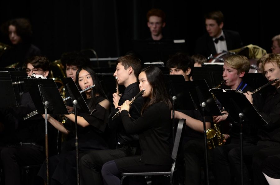 Symphonic Band and Concert Band combined during their performance of, Carol of the Bells.