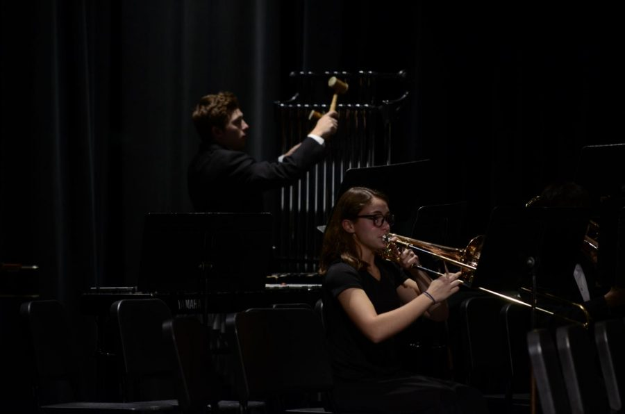 Senior trombonist Riley Brooks and junior percussionist Charlie Owens play their final piece, Yuletide Tapestry.