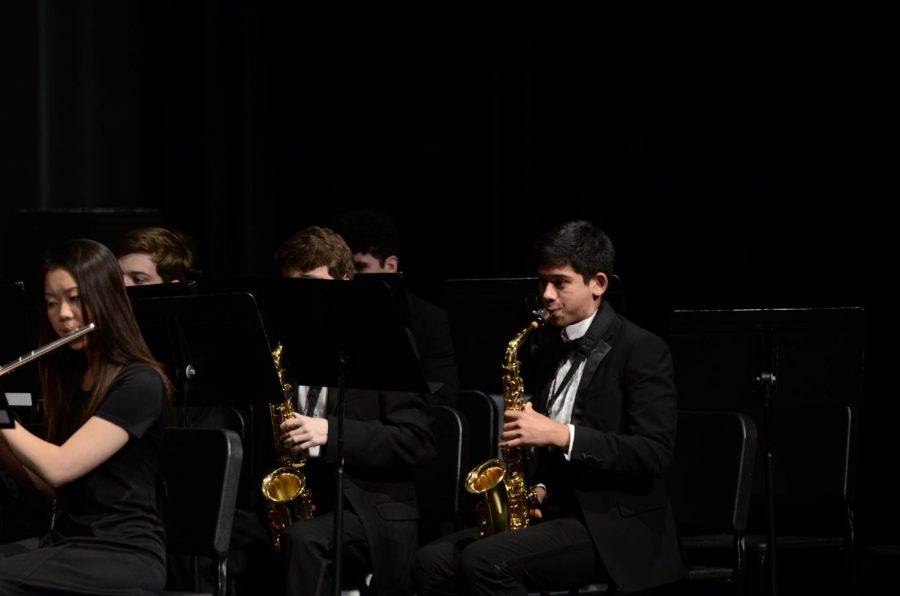 Junior saxophonist Mohnish Judge during the song, Presule, Siciliano, and Rondo.