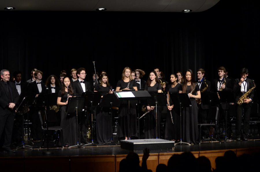 Wind Ensemble takes their bow after they end their set.